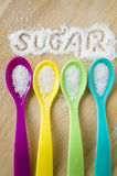 Sugar words with color spoon Stock Images