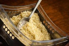 Sugar. Zabytkowa cukiernica z brazowym cukrem Royalty Free Stock Photos