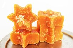 Sugarcane Hard Molasses or Jaggery Royalty Free Stock Images