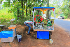 A Sugarcane Juice Seller in Colva ,Goa India Royalty Free Stock Images