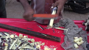 sugarcane pieces in Mumbai market, India stock footage