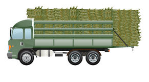 Sugarcane truck Dark green truck stock illustration