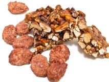 Sugared Almond and Almond Nougat. Sugared crispy almond and Almond Nougat stock photography