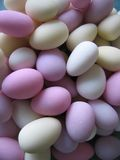 Sugared almonds. Background of sugared almonds sweets, wedding favours etc Royalty Free Stock Image