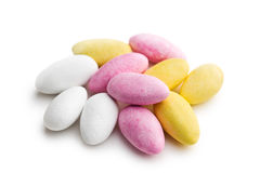 Sugared almonds. On white background royalty free stock photo