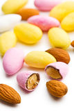 Sugared almonds. On white background stock photography