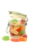 Sugared colorful candy in a glass jar Stock Images