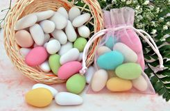 Sugared colors in a basket Royalty Free Stock Photography