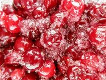Sugared cranberries dessert. Sugared cranberries holiday dessert background stock photos