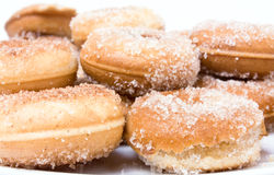 Sugared Doughnut. Background image of home baked cinnamon sugared pastry's stock image