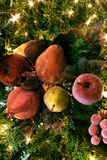 Sugared Fruits in Tree. With Christmas lights Stock Photo