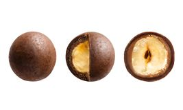 Sugared hazelnut dragees in chocolate isolated on white background. Chocolate balls candy filled with nut stock photos