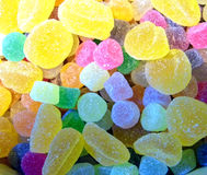 Sugared jellies. A coloured mix of sugared jelly sweets stock photos