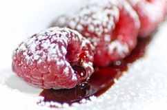 Sugared raspberries Stock Photo