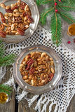 Sugared and rum glazed nuts stock image