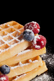 Sugared waffle with fresh berries. Stock Photo