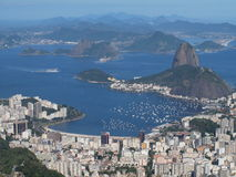Sugarloaf and botafogo bay. Shot taken from christ the redeemer royalty free stock photo