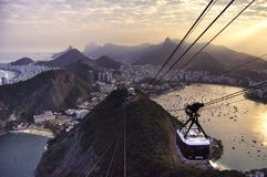 Sugarloaf Cable Car at sunset stock images