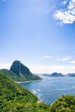 Sugarloaf Mountain Greenery and Guanabara Bay Rio Stock Photo