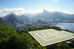 Sugarloaf Mountain Helipad and Guanabara Bay Rio Royalty Free Stock Photos