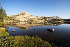 Mountain Reflections at Libby Lake stock photography