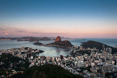 Sugarloaf Mountain with the Moon Above, Rio de Janeiro Royalty Free Stock Photo