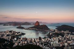 Sugarloaf Mountain with the Moon Above, Rio de Janeiro Royalty Free Stock Photos