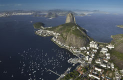 Sugarloaf Mountain - Rio de Janeiro - Brazil. Aerial view of Sugarloaf Mountain in Guanabara Bay in the city of Rio de Janeiro in Brazil. Rising 396 metres (1 stock image