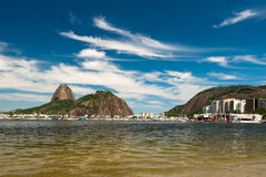 Sugarloaf Mountain, Rio de Janeiro. View of the Sugarloaf Mountain From Botafogo Beach in Rio de Janeiro, Deep Blue Sky With Clouds Stock Photo