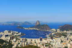 Sugarloaf mountain sky without clouds Guanabara bay Royalty Free Stock Image
