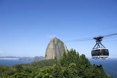 Sugarloaf Pao de Acucar Mountain缆车里约 免版税库存图片