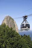 Sugarloaf Pao de Acucar Mountain缆车里约 库存图片