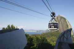 Sugarloaf Pao de Acucar Mountain Cable Car Rio Skyline Royaltyfria Foton