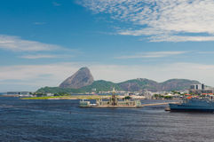 Sugarloaf and Santos Dumont airport in Rio de Janeiro Royalty Free Stock Images