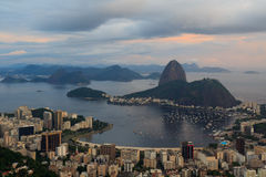 Sugarloaf-Sonnenuntergang Rio de Janeiro, Brasilien Lizenzfreies Stockfoto