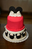 Sugarpaste cake in mini-mouse shape. A very tasty cheesecake in mini-mouse shape. Red sugarpaste cake Royalty Free Stock Photos