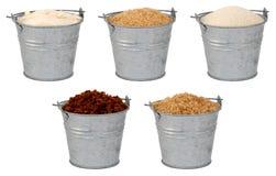 Sugars - odlewnik, demerera, granulujący, muscovado - Fotografia Stock