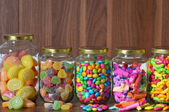 Sugary candy in a glass jar Stock Image