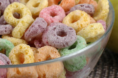 Sugary Cereal. Close-up of a bowl of colorful sugary cereal Stock Photography