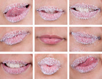 Sugary lips collage. Sweet sugary lips collage design Stock Photography