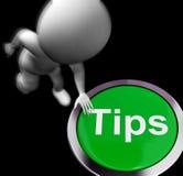 Sugestões e ajuda pressionadas pontas das sugestões das mostras Foto de Stock