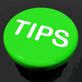 Suggerimenti o istruzioni di aiuto di manifestazioni del bottone di punte Fotografie Stock Libere da Diritti