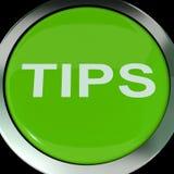 Suggerimenti o istruzioni di aiuto di manifestazioni del bottone di punte Immagini Stock Libere da Diritti