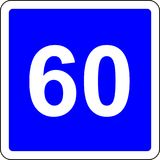 60 suggested speed road sign. Road sign with suggested speed of 60 km/h royalty free illustration