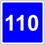 110 suggested speed road sign. Road sign with suggested speed of 110 km/h royalty free illustration