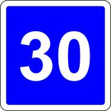 30 suggested speed road sign. Road sign with suggested speed of 30 km/h Royalty Free Stock Photos