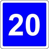 20 suggested speed road sign. Road sign with suggested speed of 20 km/h Stock Photo