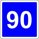 90 suggested speed road sign. Road sign with suggested speed of 90 km/h stock illustration