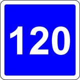 120 suggested speed road sign. Road sign with suggested speed of 120 km/h stock illustration