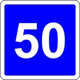 50 suggested speed road sign Royalty Free Stock Image